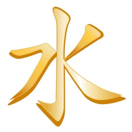 humanismo: Símbolo confucianismo. El símbolo de oro de la fe confuciana, fondo blanco.