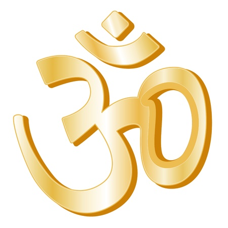 hinduismo: Símbolo del hinduismo. Símbolo de Oro de la fe hindú, fondo blanco. Vectores