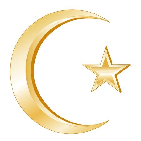 イスラム教の記号です。三日月と星、イスラムの信仰は、白い背景の黄金のシンボル。