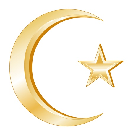 Islam Symbol. Crescent and Star, golden symbols of Islamic faith, white background.