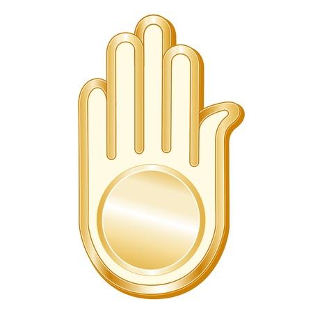 jain: Jain Symbol. Golden Ahimsa, symbol of the Jain faith, white background.  Illustration