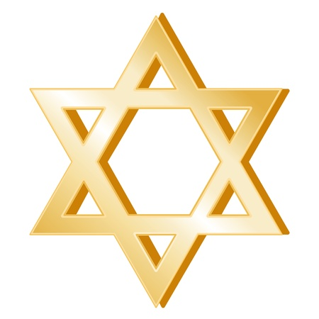 israel: Judaism Symbol. Golden Star of David, symbol of the Jewish faith, white background.