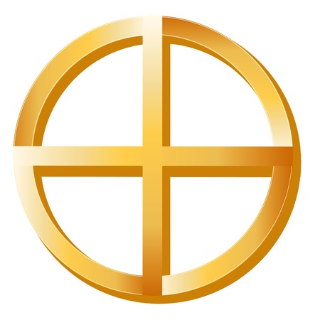 medicine wheel: Native Spirituality Symbol. Golden Medicine Wheel, symbol of Native Spirituality, white background.