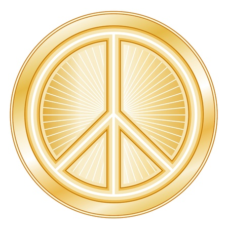 Peace Symbol. Golden international symbol of peace on earth, white background.