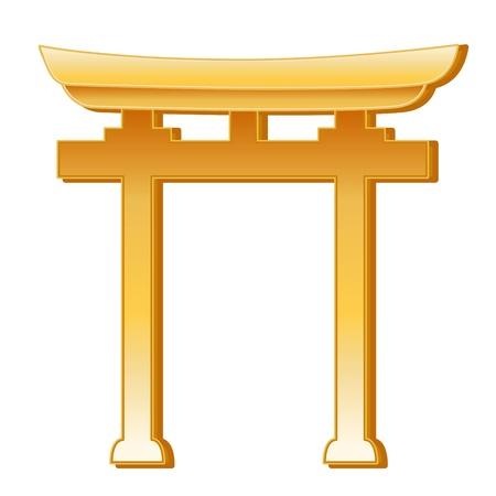 Shinto Symbol. Golden Torii Gate, symbol of Shinto faith, white background.