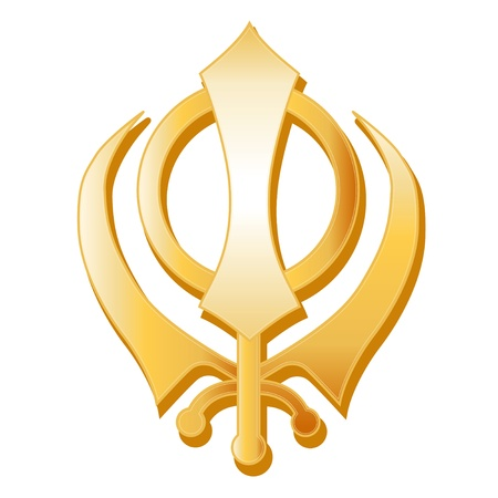 sikhism: Sikh Symbol. Golden Sikh Khanda, symbol of the Sikh faith, white background.