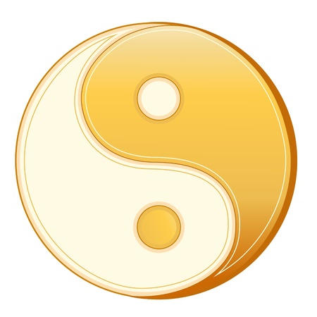 Taoism Symbol. Golden Yin Yang mandala of Tao faith, white background.