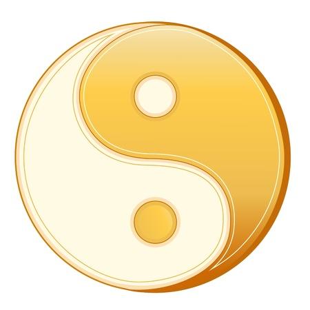 ching: Taoism Symbol. Golden Yin Yang mandala of Tao faith, white background.