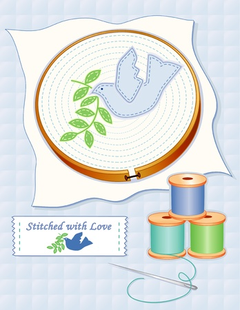 peace label: Dove of Peace Embroidery, wood hoop, fabric, dove of peace applique stitching, needle, threads, sewing label, Stitched with Love, pastel blue quilted background.     Illustration