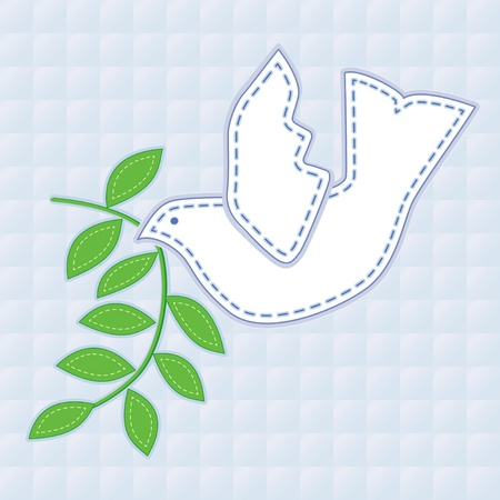 Dove of Peace with olive branch, applique embroidery, pastel blue quilted background.   Vector