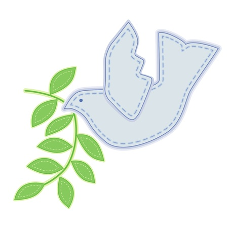 Dove of Peace with olive branch, applique embroidery, white background.