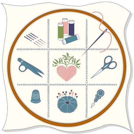 Embroidery Icons: wood hoop, fabric, cross stitch, sewing needles, spools of threads, thread clips, stitched heart, embroidery scissors, thimble, pins, pincushion, needle threader. Vector