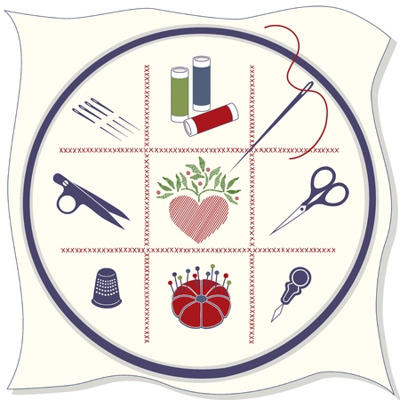 needlework: Embroidery Icons: hoop, fabric, cross stitch, sewing needles, spools of threads, thread clips, stitched heart, embroidery scissors, thimble, pins, pincushion, needle threader. Illustration