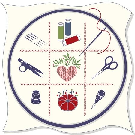 Icônes de broderie: cerceau, tissu, point de croix, aiguilles à coudre, bobines de fils, des clips fil, le coeur cousu, ciseaux à broder, dé à coudre, des épingles, en coussinet, enfileur. Banque d'images - 12392233