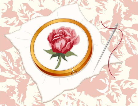 stitchery: Red Damask Rose Embroidery, wood hoop, silver sewing needle, thread, vintage pastel rose background pattern.