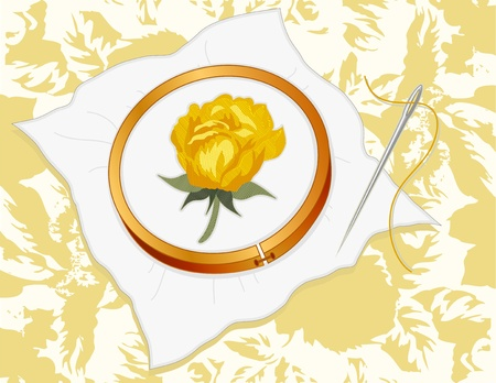 stitchery: Yellow Damask Rose Embroidery, wood hoop, silver sewing needle, thread, vintage pastel rose background pattern.  Illustration