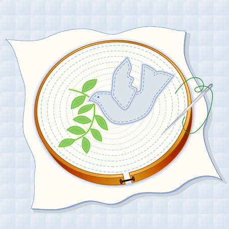 quilted fabric: Dove of Peace with olive branch applique embroidery, wood hoop, fabric, sewing needle, thread, pastel blue quilted background.   Illustration