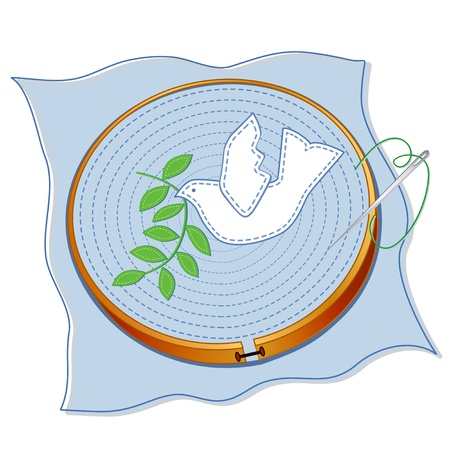 needle and thread: Dove of Peace with olive branch applique embroidery, wood hoop, blue fabric, sewing needle, thread, white  background.