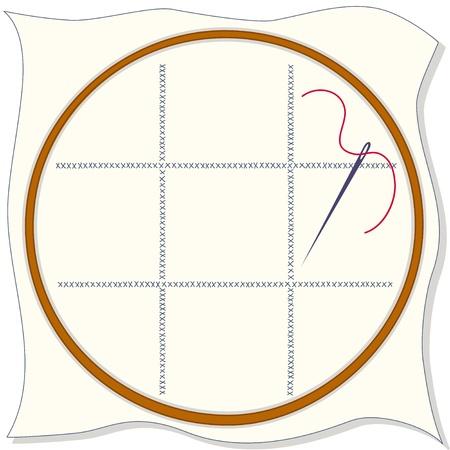 punto cruz: Bastidor de bordado, tejido con dise�o de punto de cruz, aguja de coser, hilo. Copiar espacio para a�adir su arte y dise�os.