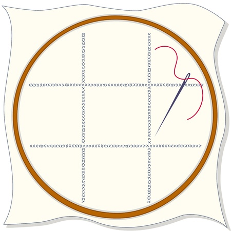notions: Embroidery Hoop, fabric with cross stitch design, sewing needle, thread. Copy space to add your art and designs. Illustration
