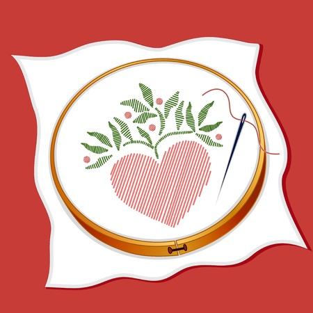 Folk Art Style Borduren, hart stitchery, houten ring, naaien naald, draad, rode achtergrond. Stockfoto - 12392230