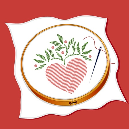 crewel: Folk Art Style Embroidery, heart stitchery, wood hoop, sewing needle, thread, red background.