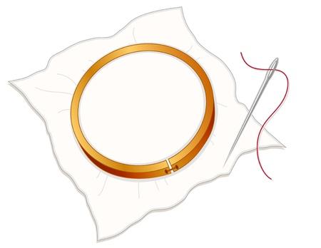 needlework: Embroidery Hoop, tessuto, ago e filo per cucire in argento su sfondo bianco. Copiare lo spazio per la tua arte preferita o testo.
