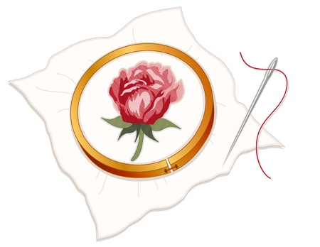 space needle: Vintage Needlepoint Embroidery, Red Rose, wood hoop, fabric, silver sewing needle and thread, white background.