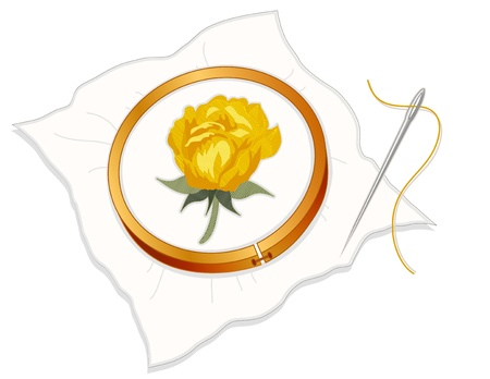 Vintage Needlepoint Embroidery, Yellow Rose, wood hoop, fabric, silver sewing needle and thread, white background.   Vector