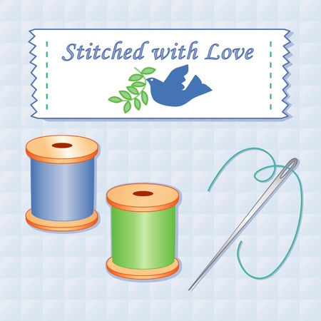 sew tags: Needle and Threads, Sewing Label, Dove of Peace with olive branch, Stitched with Love, quilted background.  Illustration