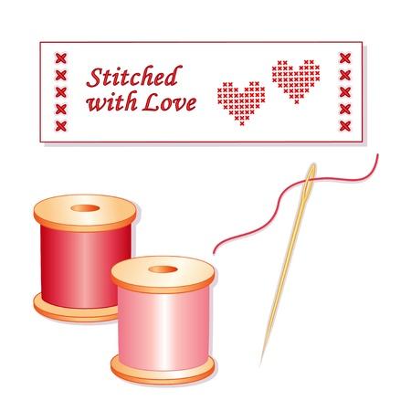 punto cruz: Aguja e hilos, etiquetas de costura, puntada cruzada corazón, cosido con amor. Vectores