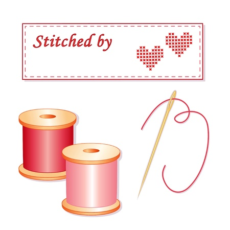 sew tags: Needle and Threads, Sewing Label with cross stitch hearts, copy space to add name.  Illustration