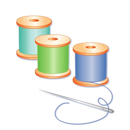 embroider: Sewing Needle, spools of blue, green and aqua thread, white background.