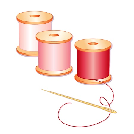 Naald, spoelen van rode, roze en roze draad, witte achtergrond.