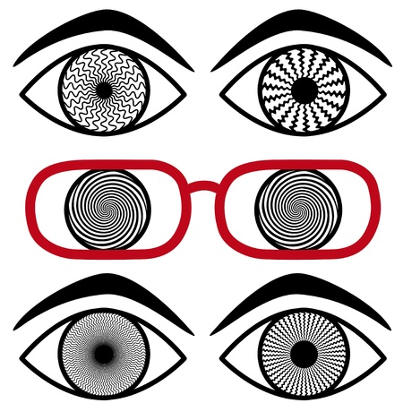 Migrane Headache. Concept for stress, strain, visual confusion, optical illusions. eyes, eyeglasses.  Vector