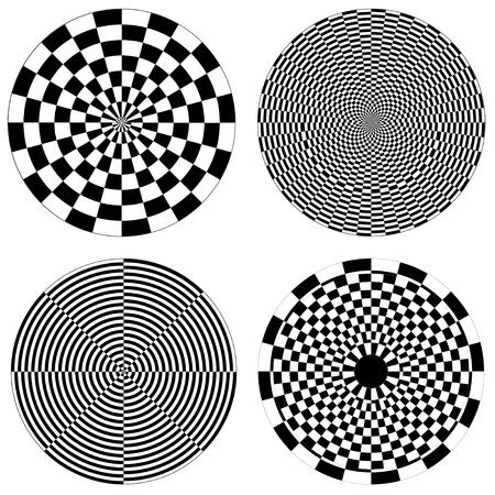 Checkerboard, Dartboard Design Patterns 矢量图像