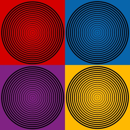 Circle Design Patterns in four colors Vector