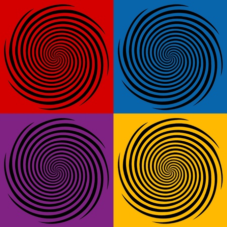 Hypnosis Spiral Design Patterns in four colors Vector