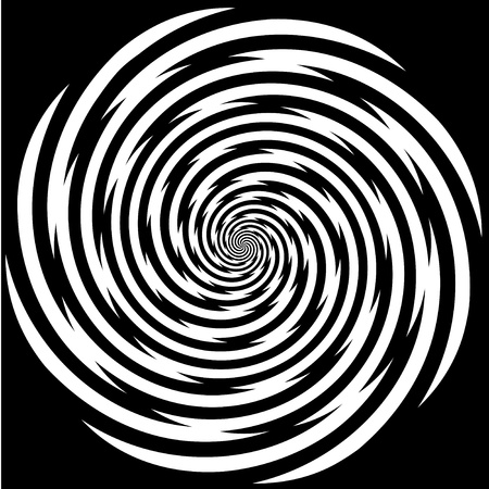perceptie: Hypnose Spiral Design Pattern. Concept voor hypnose, onbewust, chaos, buitenzintuiglijke waarneming, psychische, stress, spanning, optische illusie. Stock Illustratie