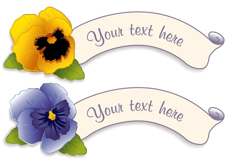Vintage Label Tags with Gold and Sky Blue Pansy Flowers Vector