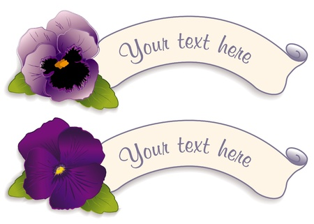 Vintage Label Tags with Lavender and Purple Pansy Flowers Vector