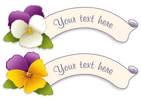 Vintage Label Tags with Johnny Jump Up Pansy Flowers Vector