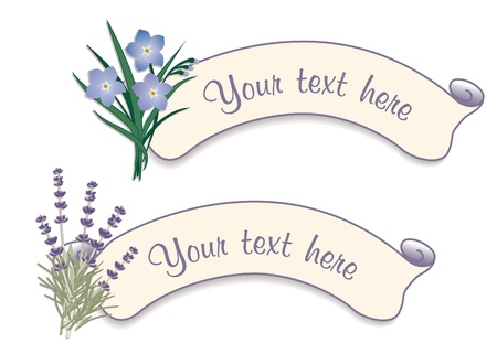 forget me not: Vintage Label Tags with Sweet Lavender and Forget Me Not Flowers Illustration