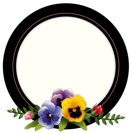 rosa: Vintage Frame, Pansies and Roses. Copy space for your text or picture. Traditional for gift tag, card, label, stationery, or announcement for celebrations, holidays, scrapbooks, albums.