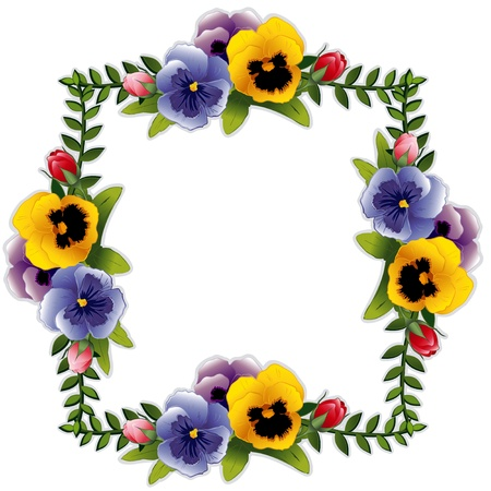 Victorian Flower Frame with Pansies and Roses. Copy space for your text or picture. Traditional for gift tag, card, label or announcement for celebrations, holidays, scrapbooks, albums. Vector