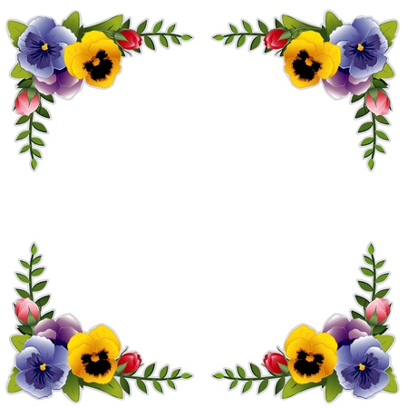 violas: Victorian Flower Frame with Pansies and Roses. Copy space for your text or picture. Traditional for gift tag, card, label or announcement for celebrations, holidays, scrapbooks, albums. Illustration