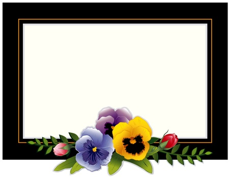 black picture frame: Vintage Frame, Pansies and Roses. Copy space for your text or picture. Traditional for gift tag, card, label, stationery, or announcement for celebrations, holidays, scrapbooks, albums.