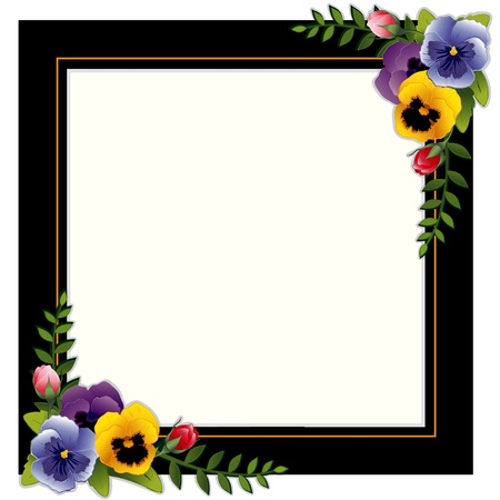ivy vine: Vintage Frame, Pansies and Roses. Copy space for your text or picture. Traditional for gift tag, card, label, stationery, or announcement for celebrations, holidays, scrapbooks, albums.