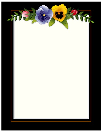 Vintage Frame, Pansies and Roses. Copy space for your text or picture. Traditional for gift tag, card, label, stationery, or announcement for celebrations, holidays, scrapbooks, albums. Vector
