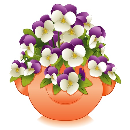 Johnny Jump Up Flowers (Pansies) in Clay Strawberry Jar Planter Vector